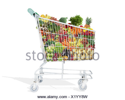 A trolley full of fruit and vegetables - Stock Photo