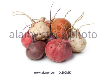 Fresh mixed color beets on white background - Stock Photo