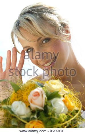 woman, bride outdoors - Stock Photo