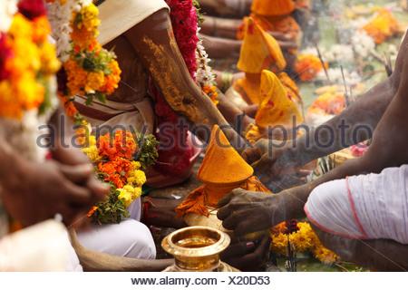 Offerings, Thaipusam festival in Tenkasi, Tamil Nadu, Tamilnadu, South India, India, Asia - Stock Photo