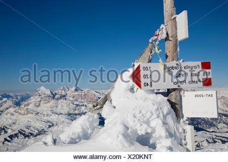 Touring ski in the Dolomites, Piz Boè, eastern Alps, Bolzano, South Tyrol, Italy, Europe. - Stock Photo