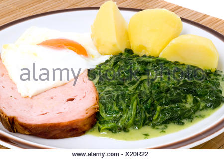 egg, spinach, fried egg, potatoes, macro, close-up, macro admission, close up - Stock Photo