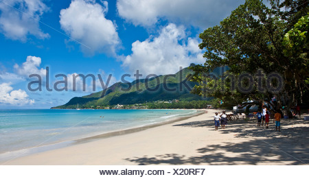 Look on Beau Vallon Bay, Mahe Island, Seychelles, Indian Ocean, Africa - Stock Photo