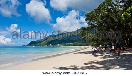 Look on Beau Vallon Bay, Mahe Island, Seychelles, Indian Ocean, Africa - Stock Photo