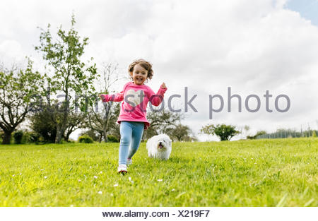 Smiling little girl running on a meadow with her dog - Stock Photo