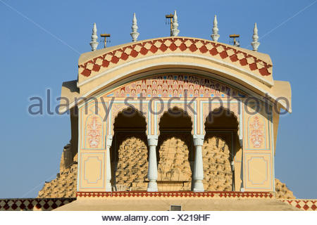 Upper portion of ISKCON Temple at Ahmedabad, Gujarath, India, Asia - Stock Photo