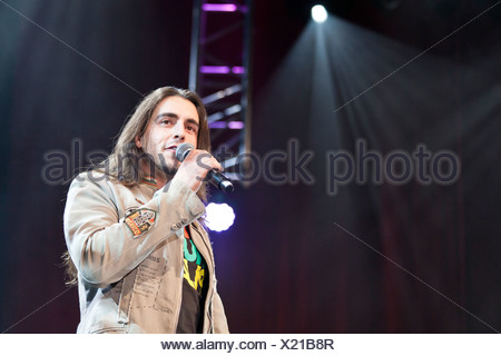 Stefan Wilhelm of the Austrian pop and folk music group 'Schuerzenjaeger' performing live at the Schlager Nacht 2012 - Stock Photo