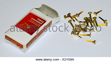 office, office supplies, paper fasteners, paper fasteners with box, Additional-Rights-Clearance-Info-Not-Available - Stock Photo