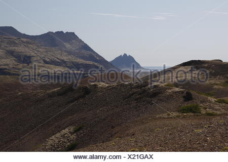 Vesturhorn mountain as seen from the trail from the Stafafell farm to the Hvannagil canyon. Lónsöræfi Nature Reserve - Stock Photo