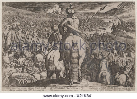Plate 5: The Defeat of the Ethiopians, from 'The Battles of the Old Testament,'. Artist: Antonio Tempesta (Italian, Florence 1555-1630 Rome); - Stock Photo