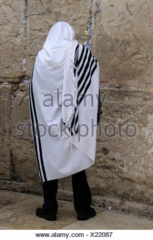 Orthodox Jew praying, Wailing Wall or Western Wall, Jerusalem, Israel, Middle East - Stock Photo