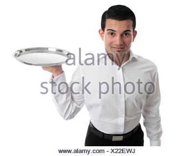 Waiter or bartender holding a silver tray - Stock Photo