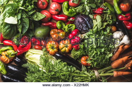 Variety of resh raw vegetable ingredients for healthy cooking or salad making, top view. Diet or vegetarian food concept, horizo - Stock Photo