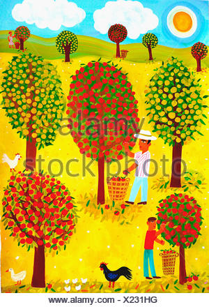 Family picking apples in orchard - Stock Photo