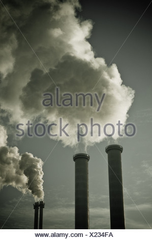 Berlin, Germany, a thermal power station chimneys - Stock Photo