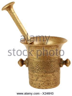 Mortar and Pestle Isolated on White Background. - Stock Photo