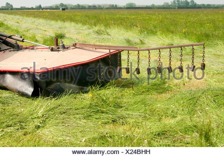 An extension to a tractor to save animals when mowing the grass - Stock Photo