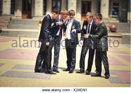 wedding couple , groomsman and  bridesmaid - Stock Photo