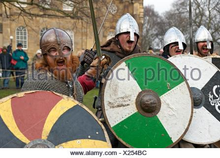Vikings and Anglo Saxons at the Viking Festival York North Yorkshire England UK United Kingdom GB Great Britain. - Stock Photo