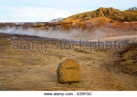 The Geysir geyser in Haukadalur Valley, Iceland, is the oldest known geyser. - Stock Photo