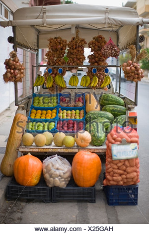 Market stall with fruits and vegetables - Stock Photo