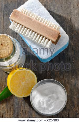 cleaning tools and sodium bicarbonate for house cleaning. - Stock Photo