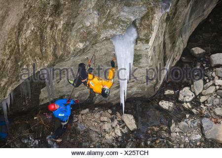 ice climbers in the Sigmund-thun-Klamm, Austria, Kaprun - Stock Photo