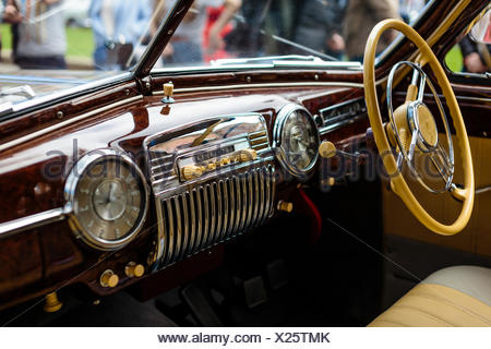 Photograph of vintage car interior, St. Petersburg, Russia - Stock Photo