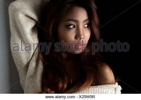 Indonesia, Bali, Portrait of young girl - Stock Photo