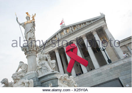 Wien, Parlament, AIDS-Schleife, Vienna, Parliament, Red Ribbon - Stock Photo