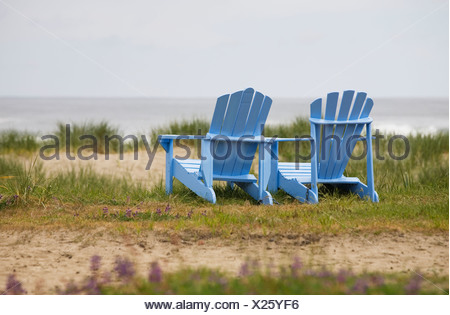 Two Empty Deck Chairs on a Beach Stock Photo 134054767 Alamy