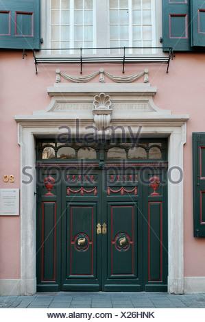 Portal of Beethovenhaus, birth house of Ludwig van Beethoven, Bonn, North Rhine-Westphalia - Stock Photo