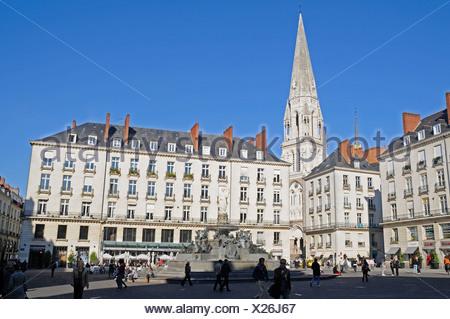 Place Royale square, Saint-Nicolas Church, Nantes, department of Loire-Atlantique, Pays de la Loire, France, Europe - Stock Photo