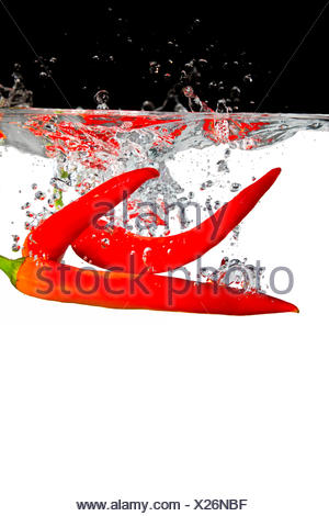 three hot peppers in water - Stock Photo