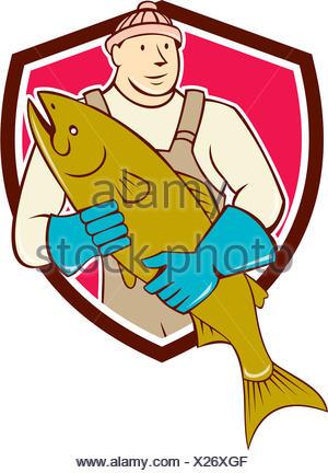 Fishmonger Holding Salmon Fish Shield Cartoon - Stock Photo