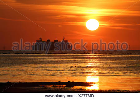 Sunrise island Fehmarn Schleswig-Holstein Baltic Sea Germany - Stock Photo