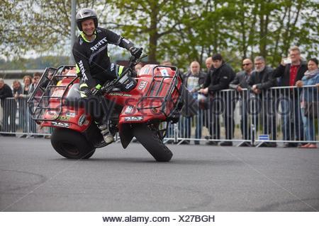 Motorcycle stuntman Mike Auffenberg on a quad bike during the ADAC motorbike startup day, Koblenz, Rhineland-Palatinate, Germany - Stock Photo