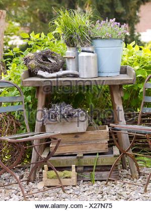 ... Still Life, Decorative Garden Accessories, Metal Jugs On An Old Wooden  Table In A