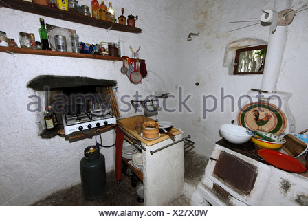 Alicudi, Italy, sparsely furnished kitchen - Stock Photo