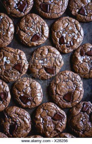 salted double chocolate buckwheat cookies (gluten-free) - Stock Photo
