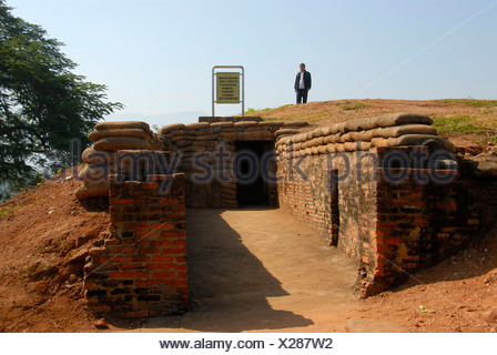 First Indochina War 1954, battlefield with trenches and bunkers on the A1 Hill, Dien Bien Phu, Vietnam, Southeast Asia, Asia - Stock Photo