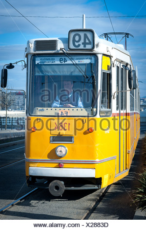 Tram at Liberty Bridge, Budapest, Hungary, Europe - Stock Photo