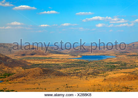 view from Lenong viewpoint to Mankwe lake, South Africa, North West Province, Pilanesberg National Park - Stock Photo