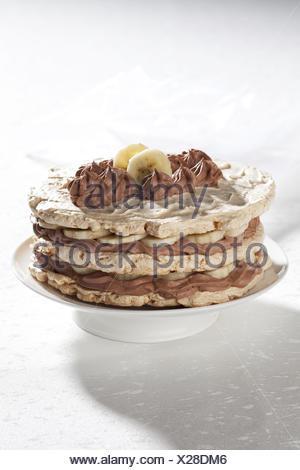 Meringue with Chocolate Whipped Cream - Stock Photo
