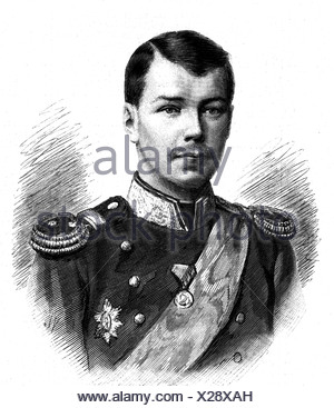 Nicholas II Alexandrovich, 6.5.1868 - 16.7.1918, Emperor of Russia 21.10.1894 - 2.3.1917, portrait, wood engraving, 19th century, , Additional-Rights-Clearances-NA - Stock Photo