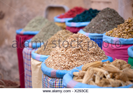 Dried food in sacks - Stock Photo