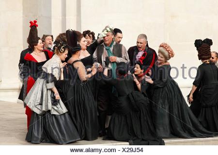 Jedermann, Everyman, 2009, played by Peter Simonischek, play by Hugo von Hofmannsthal, Salzburg Festival, Salzburg, Austria, Eu - Stock Photo