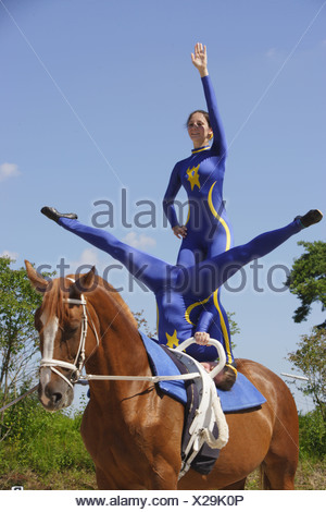 Vaulting - compulsory exercises handstand and free-standing - Stock Photo