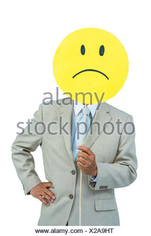 Businessman Holding Angry Smiley Face Balloon Stock Photo 281024368