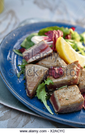 Pan-fried tuna - Stock Photo
